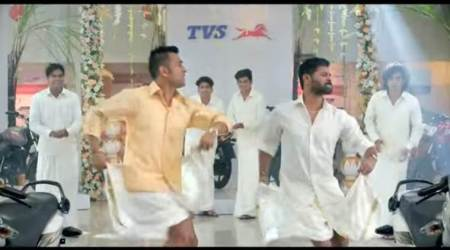 ms dhoni, dhoni dancing video, dhoni lungi dance, prabhu deva, dhoni tvs dance video, dhoni prabhu deva tvs ad, viral video, latest news, indian express