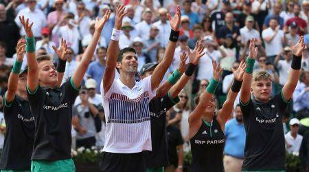 French Open 2017: Andre Agassi stars as Novak Djokovic romps to second-round win