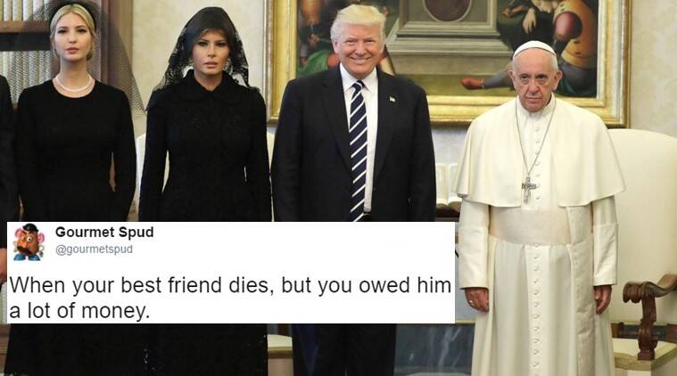 donald trump, donald trump at vatican, donald trump pope, donald trump with pope funny photos, donald trump pope funny pictures, donald trump viral photo with pope, donald trump vatican pope meeting pictures, world news, indian express, indian express news, trending globally news