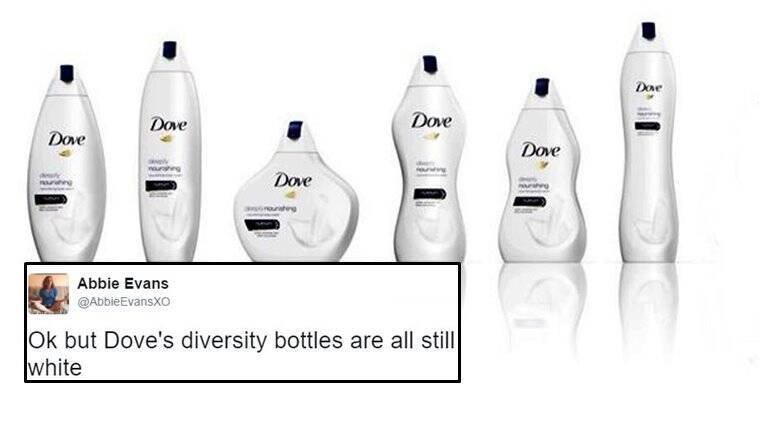 Dove selling body wash in bottles that represent different body types