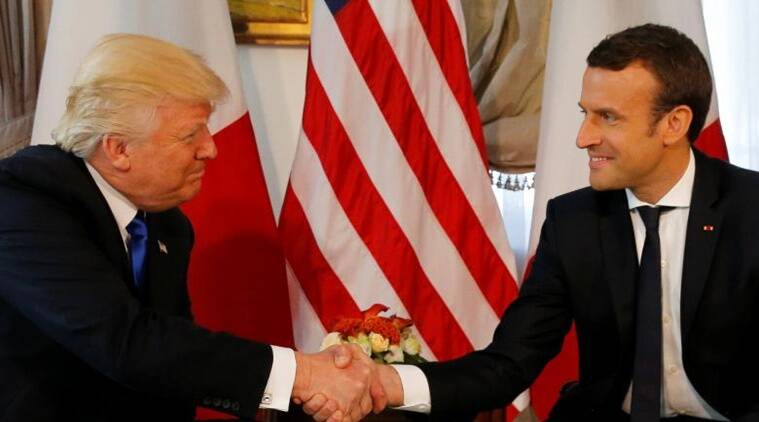 Donald Trump, Emmanuel Macron, Trump handshake, Trump meets Macron, Nato summit, World news, Indian express news, latest news
