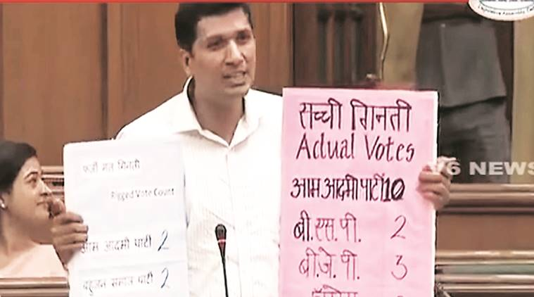 Aam Aadmi Party, AAP, EVM tampering, arvind kejriwal, delhi assembly, saurabh bhardwaj, india news, indian express