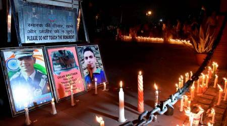People pay candlelight tribute to Lieutenant Ummer Fayaz at India Gate