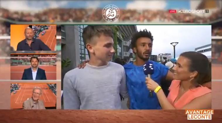 french open 2017, maxime hamou, maxime hamou kiss, media embarassment, reporter embarrassing video, reporter video, tennis news, sports news, indian express