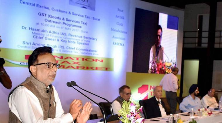 gst, Hasmukh Adhia. Hasmukh Adhia on gst, gst guidelines, gst in gujarat, Goods and Services Tax, tax regime, domestic companies, GST Council meeting, gst news, latest news, business news, india news