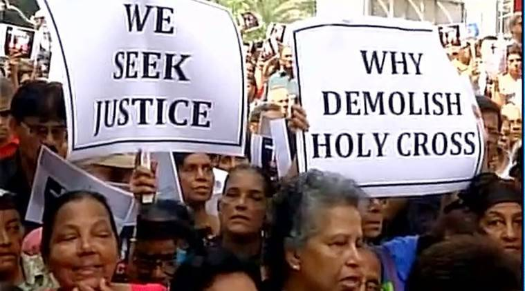 Catholics Protest In Mumbai's Bandra Over Demolition Of Holy Cross