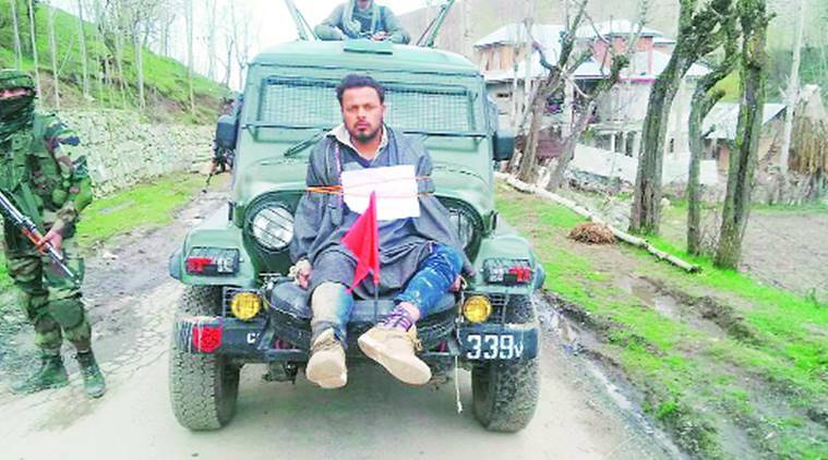 Farooq Ahmed Dar, Kashmir human shielf, human shield video kashmir, Farooq Ahmed Dar, Ahmed Dar video kashmir, kashmiri used as human shield, kashmiri man on election duty, kashmiri man tied to bonnet, election news, indian express news