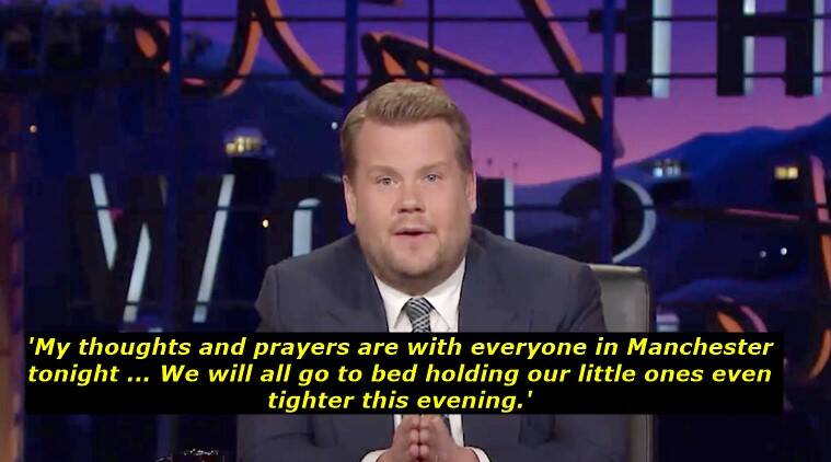 manchester arena attack, ariana grande concert attack, #manchester, #prayformanchester, manchester arena ariana grande concert blast, james corden tribute, james corden the late late show tribute to manchester attack victims, james corden message fo manchester victims, indian express, indian express news