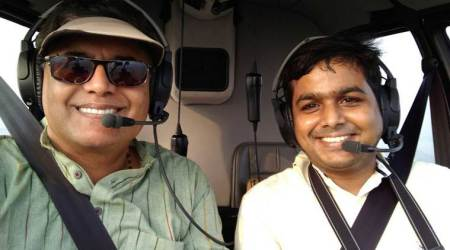 chopper, helicopter, jay panda, jay panda provate chopper ride, jay panda special helicopter ride, jay panda gives man a chopper ride, trending news, odd news, indian express, viral news, latest news