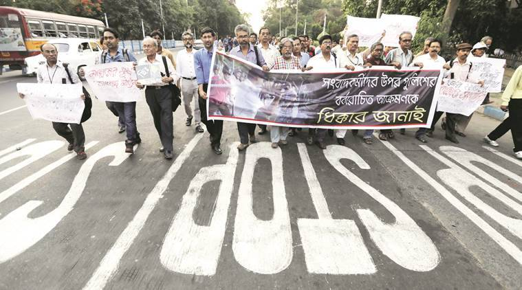 bjp, march, lal bazar, raf, police officer, police, left front, nabanna abhijan, howrah station, howrah, station, india news, indian express news
