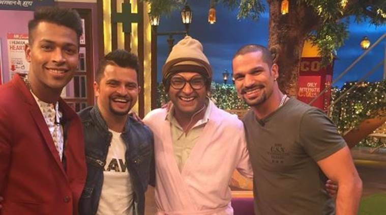 Shikhar Dhawan, Suresh Raina, Hardik Pandya, The Kapil Sharma Show, Kapil Sharma, ICC Champions Trophy, sports news, sports, cricket news, Cricket, Indian Express