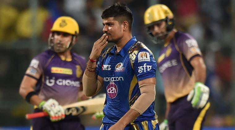 IPL 2017, IPL 2017 news, IPL 2017 updates, Karn Sharma, Karn Sharma news, Karn Sharma bowling, Karn Sharma wickets, Karn Sharma Mumbai Indians, Mumbai Indians Karn Sharma, Karn Sharma MI, MI vs KKR, Kolkata Knight Riders vs Mumbai Indians, sports news, sports, cricket news, Cricket, Indian Express