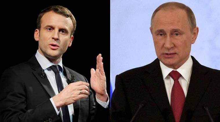 French President Emmanuel Macron, Vladimir Putin, Emmanuel Macron, France Russia, Macron to meet Putin, NATO, G7, Indian Express, world news