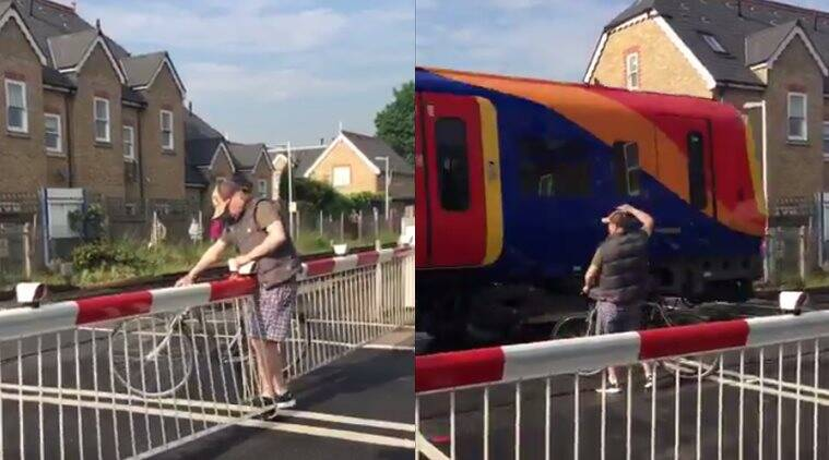 london man almost hit train. london man getting hit by train viral video, london man breaks safety rules gets hit by train almost, london viral videos, london trending stories, london viral stories, indian express, indian express news