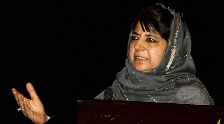 Mehbooba Mufti, azadi slogan, J&K unrest, kashmir unrest, azad kashmir, kashmir freedom, kashmir terrorism, women rally, kashmir women rally, indian express news, india news, kahsmir news