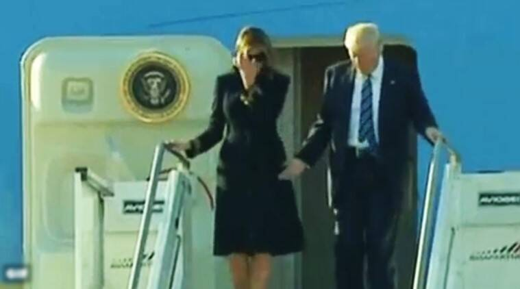 donald trump, melania trump, melania doesnt want tohold hands with trump, video melania swats trump's hand, melania doesnt want to hold hands, awkward melania moments, melania trump awkward moments, melania trump in rome doesnt hold hands still, melania trump and donald trump, melania trump israel, world news, viral videos, indian express