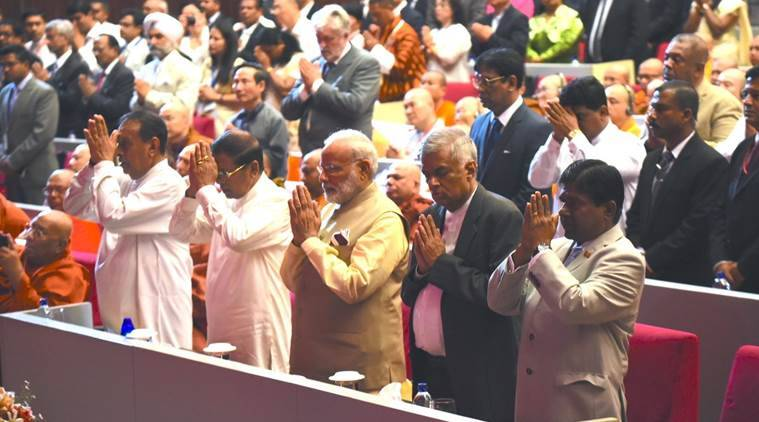 narendra modi, modi in sri lanka, colombo to varanasi flight, sri lanka, vesak day, international vesak day, india sri lanka, modi sri lanka visit, india news, indian express news