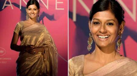 Nandita Das charms her way at Cannes 2017 in a classic Anavila zari sari