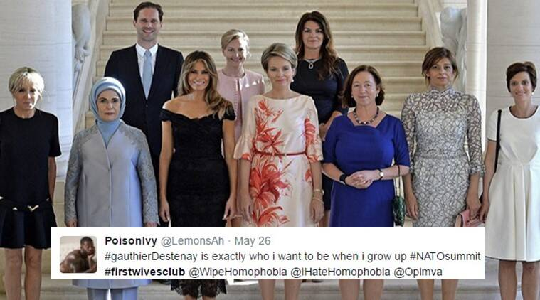 NATO 2017, donald trump, melania trump, photograph of spouses from nato, lgbt community, Gautheir Destenay, indian express, indian express news