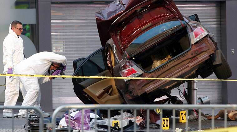 New York, speeding vehicle kills one, Times square video, Times Square, Times Square accident, New York accident, New York police, World news, Indian Express