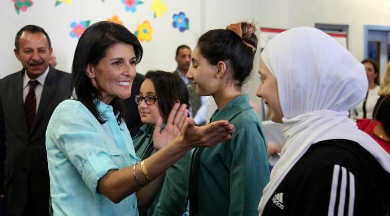 At refugee camp, Nikki Haley vows Donald Trump's US won't abandon Syrians