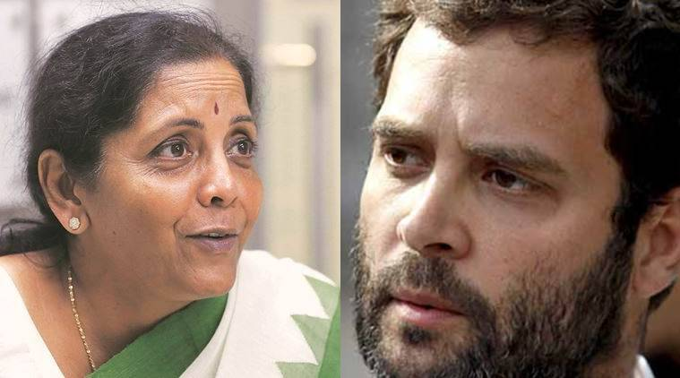Nirmala Sitharaman, Rahul Gandhi, Congress, BJP, NDA, BJP three years, Three years of modi government, CBI, Karti Chidambaram, P Chidambaram, india news, indian express news