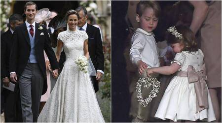 pippa middleton, pippa wedding, kate middlelton, prince george, princess charolette, pippa wedding princess charolette, pippa middleton wedding photos, world news, britain royal, indian express,