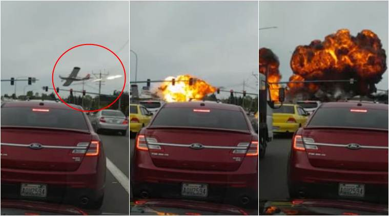Plane crash in Washington captured in dashcam video