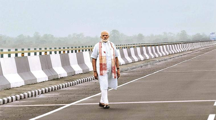 Modi opens longest bridge to traffic, names it after Bhupen Hazarika
