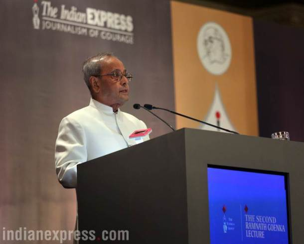 PHOTOS | President Pranab Mukherjee delivers second Ramnath Goenka Lecture
