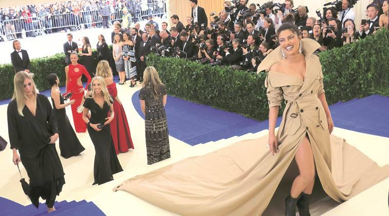 priyanka chopra, priyanka chopra met gala, priyanka chopra met gala dress, priyanka chopra met gala ralph lauren, priyanka chopra met gala 2017, priyanka chopra met gala longest trench coat, priyanka chopra met gala world's longest trench coat, priyanka chopra best dressed met gala, indian express, indian express news, fashion news