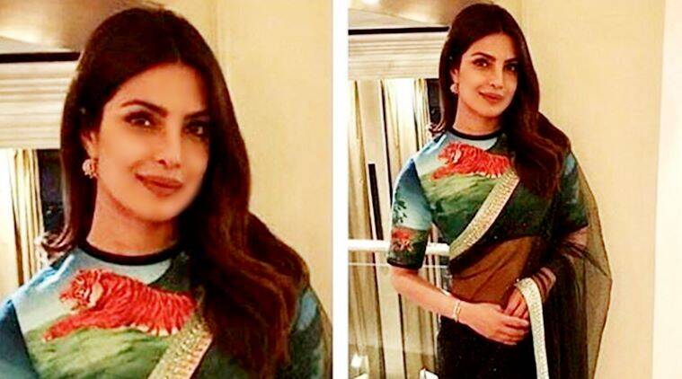 Priyanka Chopra wears a Sabyasachi sari with hand-painted ...