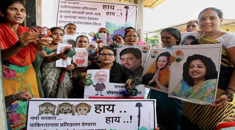 Congress Women activists, bangles for Prime Minister Narendra Modi, Narendra Modi, Soldiers beheaded, Indian soldiers mutilated, J&K, jammu and kashmir,Pakistan, India Pakistan, India news, Indian Express