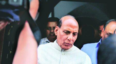Rajnath Singh, Cop killed in Srinagar, Srinagar attack, Rajnath Singh Kashmir visit, Rajnath J&K visit, India news, Indian Express