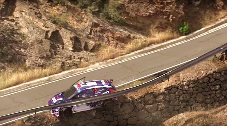 rally car, rally car misses falling off the cliff, rally car narrowly escapes falling off, rally car misses falling off, rally car accidents, rally car videos, FIA European Rally Championship, FIA European Rally Championship rally cars, trending, viral, indian express, indian express news