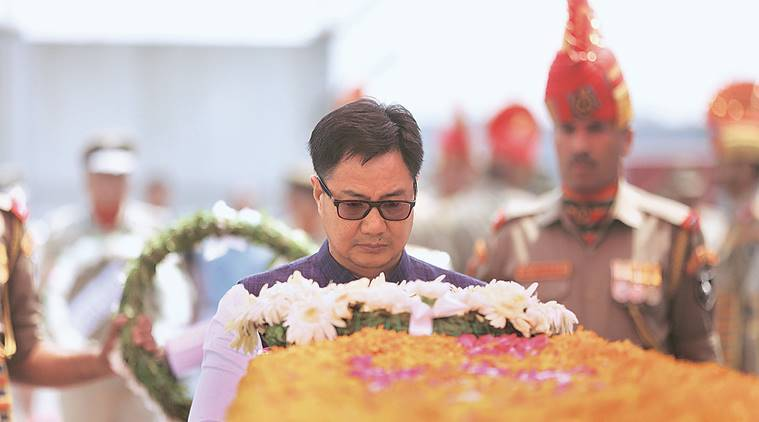 Kiren Rijiju, Attari-Wagah border, Tri colour flag, 107-foot tall tricolour, Indian Army, Stone Pelting, Jammu and Kashmir, Indian express news, India news, Latest news