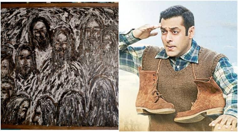 salman khan paitning, salman khan paints, salman paintings pics, salman khan painting tubelight, salman khan tubelight painting