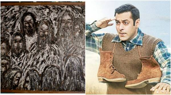 salman khan paitning, salman khan paints, salman paintings pics, salman khan painting tubelight, salman khan tubelight painting