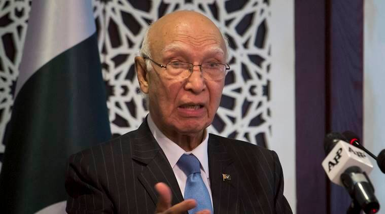sartaj aziz, pakstan foreign minster, indian express