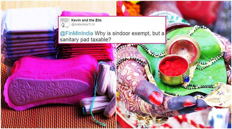 sindoor, sanitary pad, GST taxes, tax bracket for sanitary pad, sanitary pad 12 per cent taxes, sanitary pad or sindoor twitter, twitter reactions, trending, viral, indian express, indian express news