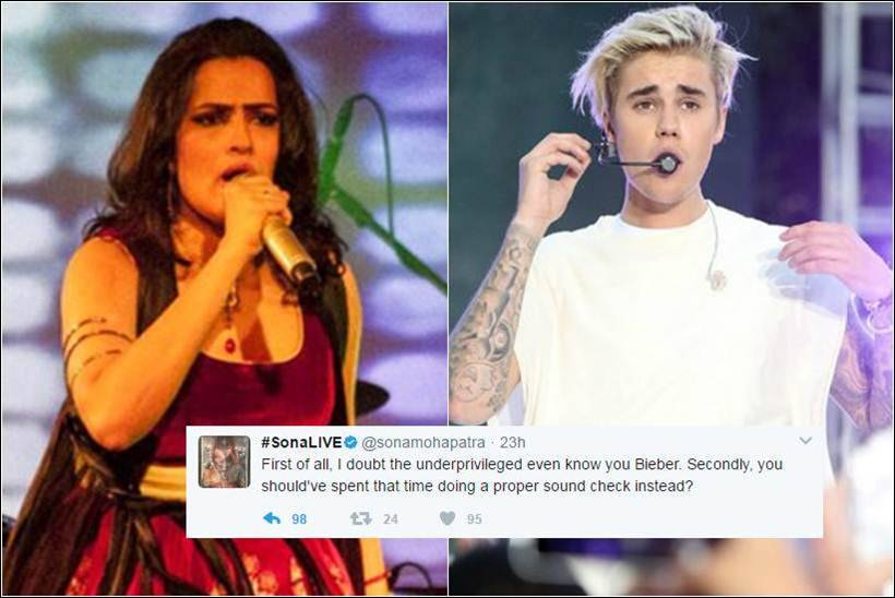 justin bieber indian concert, sona mohapatra justin bieber, sona mohapatra tweet, sona mohapatra image