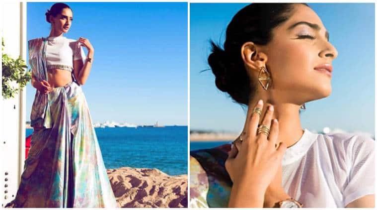 Sonam Kapoor, Cannes 2017, Cannes 2017 sonam kapoor look, Sonam Kapoor cannes saari