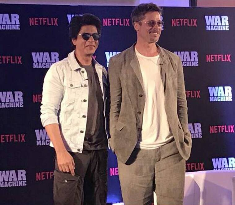brad pitt, brad pitt india, shah rukh khan brad pitt, srk brad pitt, brad pitt war machine, war machine, war machine india, srk brad pitt pics, brad pitt in india pics, war machine india premiere, shahrukh brad pitt, shahrukh brad pitt war machine, bollywood news, hollywood news, entertainment updates, indian express, indian express news, indian express entertainment