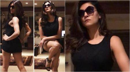 Black beauty: Sushmita Sen is slaying it with her latest look in a little black dress