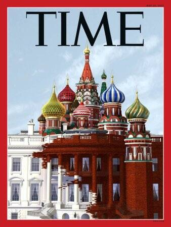 Time magazine's new cover indicating Kremlin takeover is bold and andportent