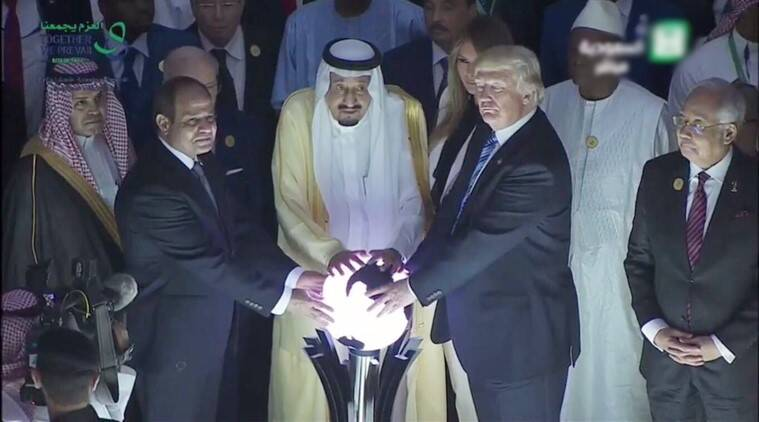 donald trump, trump in saudi arabia, trump and the glowing orb, president trump and the glowing orb, president trump glowing orb hilarious photos viral, president trump saudi king egypt president glowing orb photo trending globally, indian express, indian express news