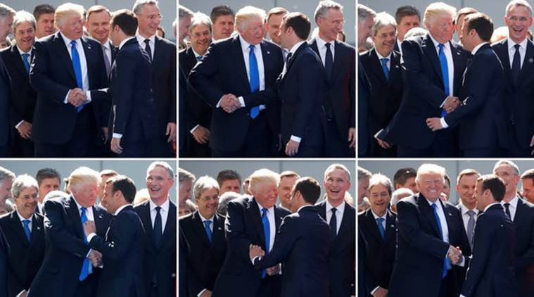 US President Donald Trump, Donald Trump, Emmanuel Macron, French President Emmanuel Macron, Trump Macron handshake, NATO, NATO meeting, US France, Indian Express, World news