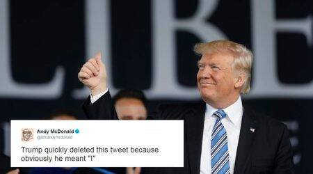 donald trump, trump we, trump tweets, trump we tweet, trump accidental tweet, trump tweet meme, trump we tweet memes, us news, world news, trump news, indian express