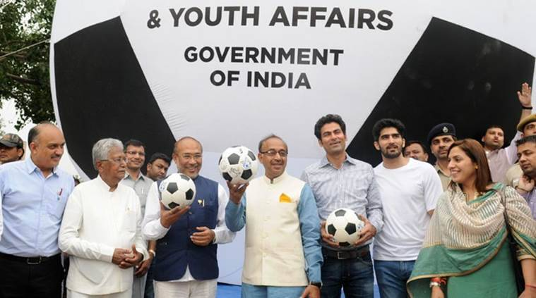 Vijay Goel, Vijay Goel news, Vijay Goel sports minister, Vijay Goel updates, Under-17 football world cup, Under-17 football world cup schedule, sport news, sports, football news, Football, Indian Express
