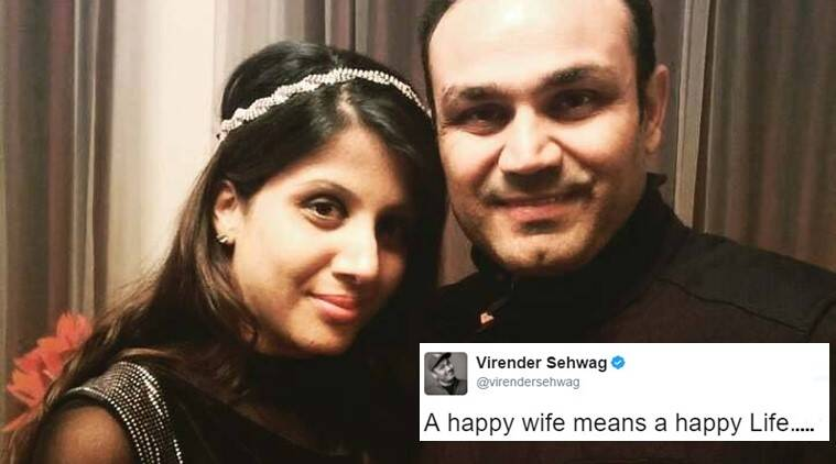 virender sehwag, virender sehwag tweet, virender sehwag twitter, virender sehwag wife twitter, sehwag twitter happy marriage secret, sehwag watching match in movie hall tweet photo, indian express, indian express news